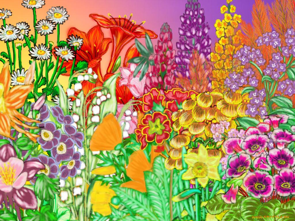 поляна цветов рисунок для рэтнт зачастую